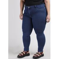 Calça Jeans Feminina Plus Size Sawary Cigarrete Cintura Alta Azul Escuro