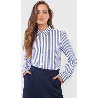 Camisa Polo Ralph Lauren Reta Listrada Branca/Azul