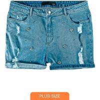 Bermuda Azul Claro Jeans Com Strass