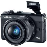 Câmera Dslr, 24.2Mp, 3.0´´, Wi-Fi, Kit Ef-M15-45 Is Stm Preta Canon EosM100