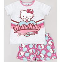 Pijama Infantil Hello Kitty Manga Curta Cinza Mescla