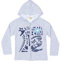 Jaqueta Em Moletom Dinossauro- Cinza & Azul Marinhomineral Kids