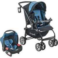 Carrinho De Bebê Passeio Burigotto Travel System - At6 K Reclinável 4 Posições - Unissex-Azul+Preto