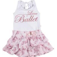 Conjunto Infantil Para Menina - Rosa/Branco