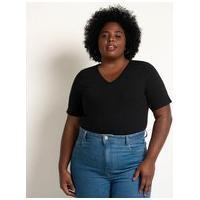 Blusa Básica Em Algodão Com Gola V Curve & Plus Size   Ashua Curve E Plus Size   Preto   G
