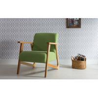 Poltrona Colorida De Madeira Estofada Estilo Retrô Moderno Verde - Verniz Amendoa \ Tec.942 - Lis 72X81X81 Cm