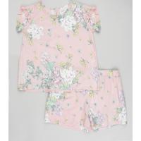 Conjunto Infantil De Blusa Estampada Floral Com Babado Manga Curta + Short Rosê