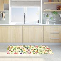 Tapete De Cozinha Mdecore Frutas E Verduras Bege 40X120Cm