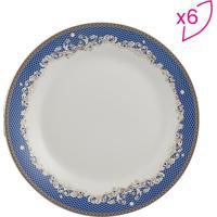 Jogo De Pratos De Jantar Cedro- Branco & Azul- 6Pã§S