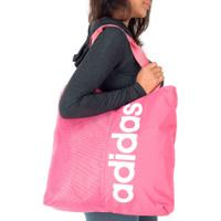 Bolsa Adidas Linear Tote - Feminina - Rosa/Branco