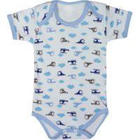 Body Suedine Manga Curta De Bebê Azul Claro Estampa Helicóptero Azul Claro
