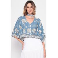 Blusa Floral Com Botões - Azul & Off White - La Concla Concha