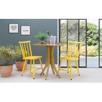 Conjunto Bistrô Mesa E 2 Cadeiras Quadrada Juliette - Amêndoa E Amarelo