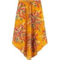 Saia Amarela Mídi Floral Assimétrica