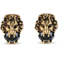 Gucci Abotoaduras Lion Head Com Cristais - Metálico