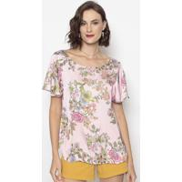 Blusa Floral- Rosa Claro & Verde- Cotton Colors Extrcotton Colors Extra