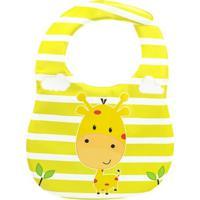 Babador Impermeável Amarelo Com Bolso -Girafa - Unik Toys