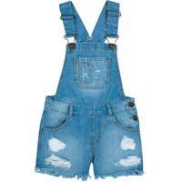 Jardineira Jeans Curta Infantil Menina