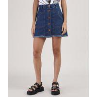 Saia Jeans Feminina Curta Com Botões E Barra Desfiada Azul Escuro
