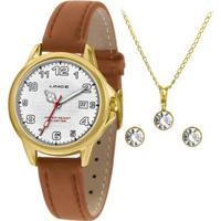 Kit Relógio Lince Feminino Urban Dourado Lrch104L-Kw60B2Wx - Feminino-Dourado+Bege