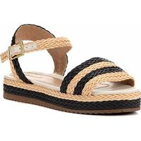 Sandália Shoestock Flatform Trança Feminina - Feminino-Bege+Preto