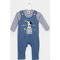 Conjunto Jardineira Moletom Infantil Andritex Camiseta Malha Manga Longa - Masculino-Azul+Cinza
