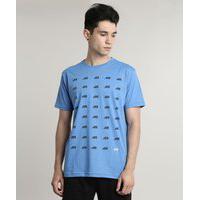 Camiseta Masculina Ace Estampada Manga Curta Gola Careca Azul