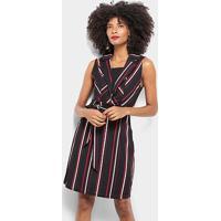 Vestido Pérola Curto Tubinho Decote V Estampa Listrada - Feminino-Preto+Vermelho