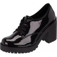 Bota Tratorado Oxford Mr Shoes Cano Curto Preto Verniz
