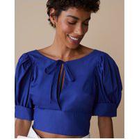 Amaro Feminino Blusa Tricoline Laço E Decote Costas, Azul Escuro