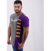 Camiseta Nba Los Angeles Lakers Cut Word Cinza
