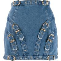 Versace Jeans Couture Buckle Detail Mini Skirt - Azul
