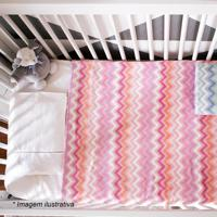 Cobertor Zigzag Em Microfibra- Rosa Claro & Laranja-Camesa