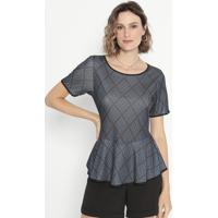 Blusa Geométrica Com Recortes- Preta & Azul- Cotton Cotton Colors Extra