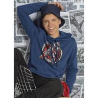 Casaco Masculino Juvenil Com Capuz Azul