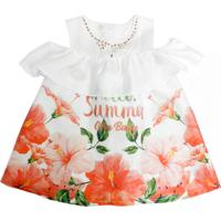 Vestido Gira Baby Kids Infantil Barrado Estampado Flores