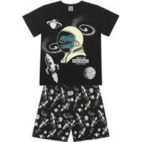 Pijama Espacial- Preto & Branco- Primeiro Passoskamylu'S