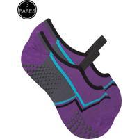Kit 3 Meia Sapatilha Duck Pilates Yoga - Roxo
