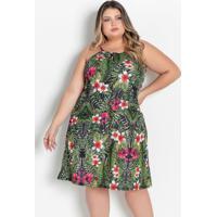 Vestido Curto Floral Verde Com Alças Plus Size