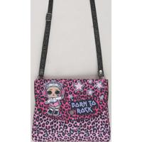 Bolsa Infantil Lol Surprise Estampada Animal Print Rosa