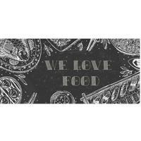 "Tapete Transfer ""We Love Food""- Preto & Branco- 90X4Tapetes Junior"