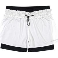Shorts Branco Tradicional Com Aplique