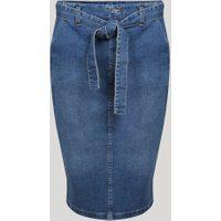 Saia Jeans Feminina Midi Lápis Com Recorte Bolsos E Faixa Para Laço Azul Médio