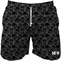 Short Tactel Maromba Fight Wear Black Skulls Com Bolsos Masculino - Masculino-Preto
