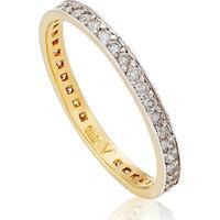 Meia Aliança Ouro Amarelo E Diamantes Jazz