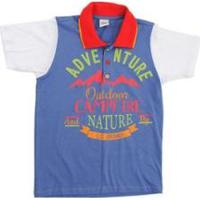 Camiseta Polo Infantil Lápis De Cor Polo Masculino - Masculino-Azul