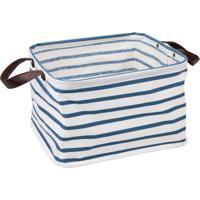 Cesto Organizador Com Alças Riley- Branco & Azul- 25Hudson