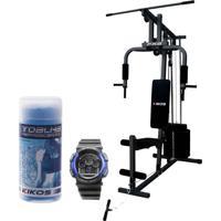 Estação De Musculação Kikos Fx6 Com Toalha Refrescante E Relógio Kikos Rk01