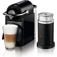 Máquina De Café Nespresso Pixie Clips Preta E Verde Neon 110V Com Aeroccino