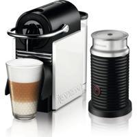 Máquina De Café Nespresso Pixie Clips Branca E Coral Neon 110V Com Aeroccino